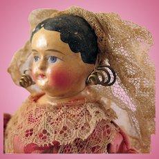 1850s Papier Mache Doll in original Dutch Costume 12 inches