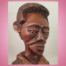 Antique Folk Art Wood Carved Ethnic Black Man Bust