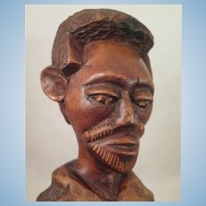 Antique Folk Art Wood Carved Ethnic Black Man Bust