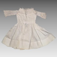 Antique White Cotton Dress with Netting for 16 inch doll