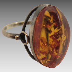 Vintage Amber Sterling Ring size 7.25