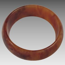 Vintage Marbled Butterscotch Bakelite Bangle Bracelet