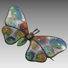 Antique Guilloché Enameled Butterfly Brooch