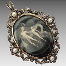 Antique Hermes Cameo Pendant Brooch with Silver Diamonds Pearls