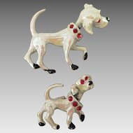 Vintage Pair Dog Brooches