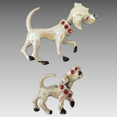 Vintage Pair Dog Brooches