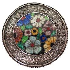 Antique Guilloche Enamel Flower Brooch