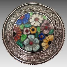 Antique Guilloche Enamel Flower Brooch
