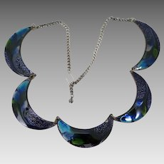Vintage Peacock Blue Enameled Copper Necklace