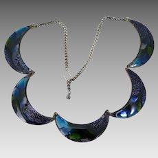 Vintage Peacock Blue Enameled Copper Necklace
