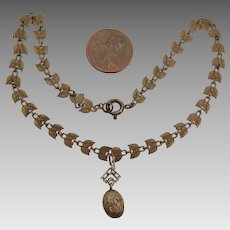 Victorian Child Necklace with 14K Gold Nugget Pendant