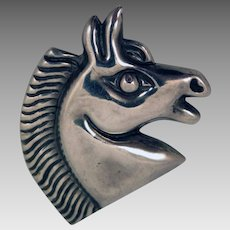 Vintage Mexican Sterling Silver Horse Brooch