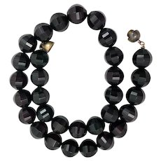 Victorian Whitby Jet Mourning Bead Necklace