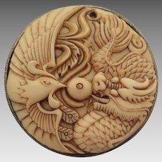 Vintage Celluloid Dragon and Phoenix Pendant