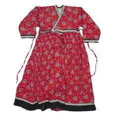 Antique Red Cotton Print Child's Dress Size 5