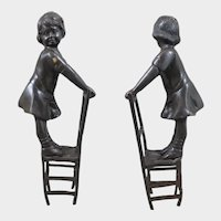 Vintage Bronze Statue of Girl Standing on Chair