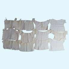 12 Antique Victorian Baby or Doll Shirts Cotton and Linen