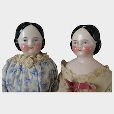 Pair Antique Covered Wagon China Dolls 10 inches