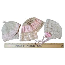 3 Antique Crocheted Hats