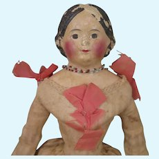 1850s German Papier Mache Milliner's Doll 15 inches