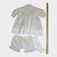 Antique White Cotton Dress, Drawers, and Stockings Set