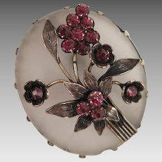 Victorian Frosted Glass Brooch with Amethyst Paste Flowers