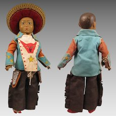 Early 1900 Ethnic Cowboy Doll Composition Papier mache Ball Jointed 15 inch