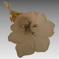 Vintage 14K Frosted Crystal Flower Brooch with Diamonds by Baumstein and Feder