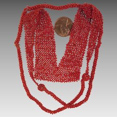 Micro Beaded Coral Glass Flapper Necklace