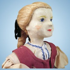 Vintage Leather Doll with Flax Hair 14 inches