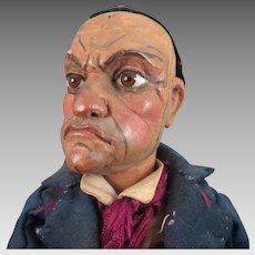 Antique Wood Puppet Man Doll 17 inches