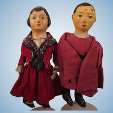 1930-40s Kansas WPA Doll Pair 12 inches
