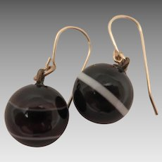 Antique Banded Agate Earrings