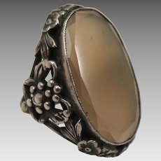 Antique Sterling Silver Agate Ring size 6.75