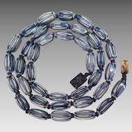 Chinese Export Blue and White Bead Necklace 24 inches