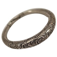 Antique Ethnic Low Silver Bangle Bracelet