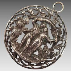 Antique Pendant of Lovers Couple