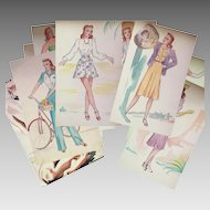 1940s Fashion Watercolor Paintings Book