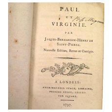 1797 Book Paul et Virginie by Jacques Bernardin Henri de Saint Pierre