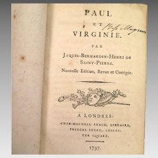 1797 Book Paul et Virginie by Jacques Bernardin Henri de Saint Pierre