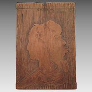 Antique Wood Portrait of Charlotte Corday