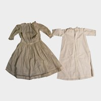 c.1900 White Cotton Doll Dress plus Nightgown for 28 inch Doll