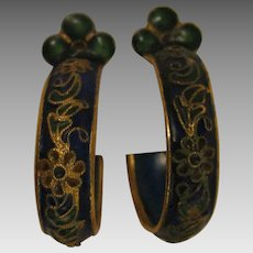 Early 1900s Chinese Enameled Earrings
