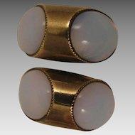 Mid Century Modern Faux Moonstone Cufflinks