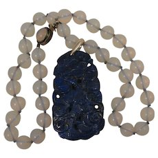 Early 1900s Chinese Export Carved Cranes and Ginko Lapis Pendant on Faux Moonstone Necklace