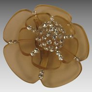 Mid Century Mod Lucite and Rhinestone Tiered Flower Brooch
