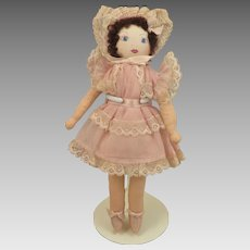 Vintage 7.5 inch Cloth Doll with Quilt