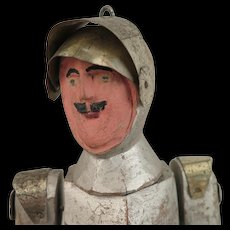 Antique Jointed Wooden Knight in Armor Doll 16 inches