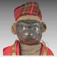 Early 1900s Home Made Cloth Monkey Doll 18 inches