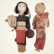 1940s-50s Vintage Mini Japanese Gofun Doll Pair 3.75 inches